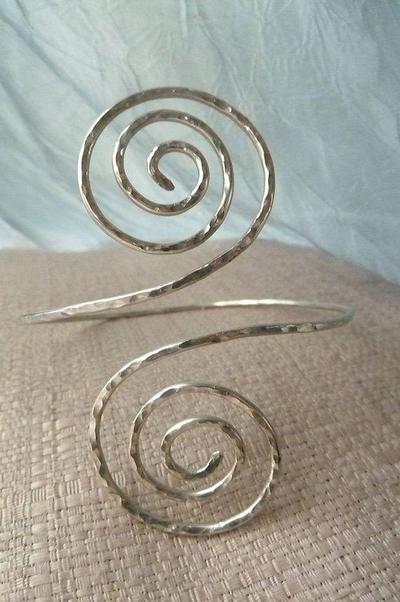 Greecian Swirl Upper Arm Cuff Hammered Arm by beadifulexpressions,