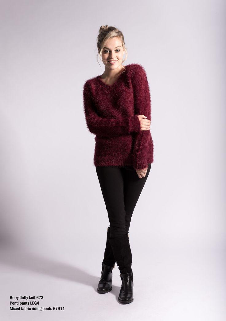 637 Berry fluffy knit jersery