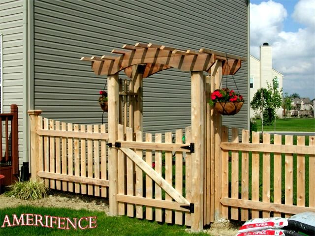 wood arbor scalloped picket fence wood fence home. Black Bedroom Furniture Sets. Home Design Ideas