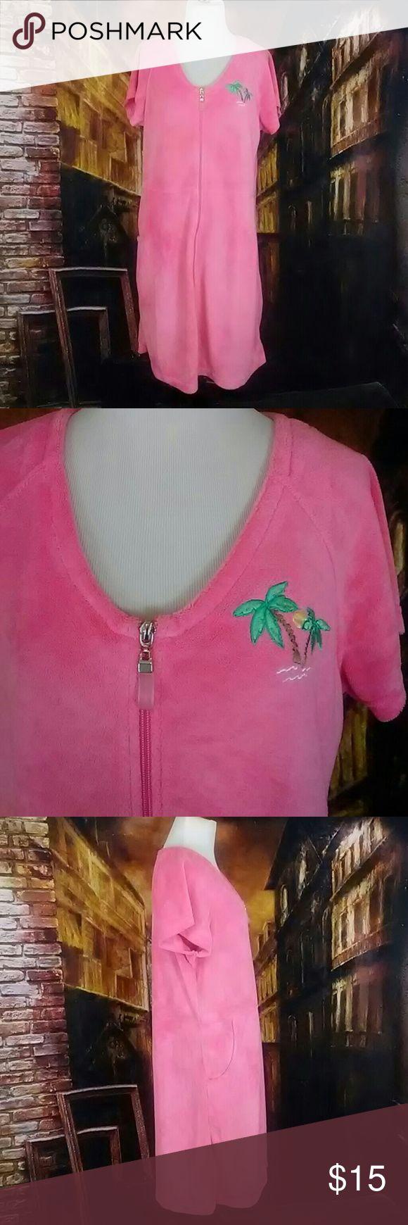 Jasmine rose intimate size M Pink. Tropical tree. Zip up.0  Long 32 Armpit to armpit 17 Jasmine rose Intimates & Sleepwear Robes