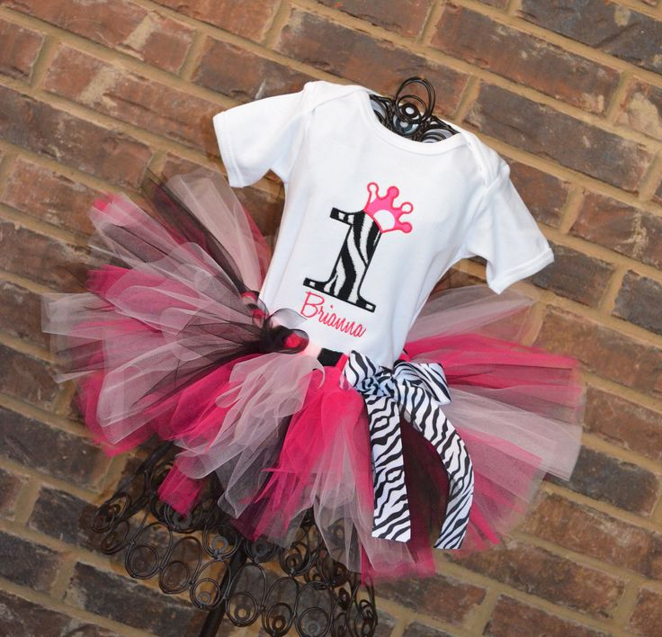 Hot Pink and Zebra Print Birthday Number Crown Tutu Outfit.