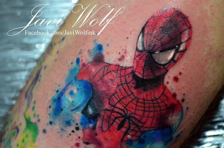 The amazing watercolor spiderman!  Tattooed by @javiwolfink