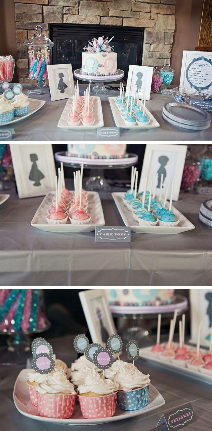 Gender Reveal Party: Pink & Blue Gender Reveal Party Dessert Table Display