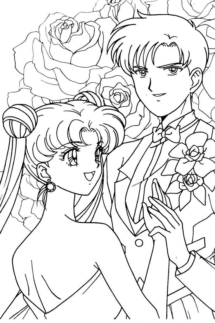 Usagi and Mamoru Coloring Page