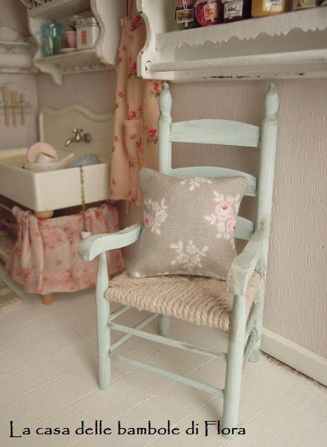 French rustic chair & cushion  1/12 dolls house by FloraDollhouse,
