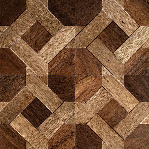 Piso de madera, taracea combinacion de Roble y Guayacan. Termiancion al oleo - Alberdi Maderas.