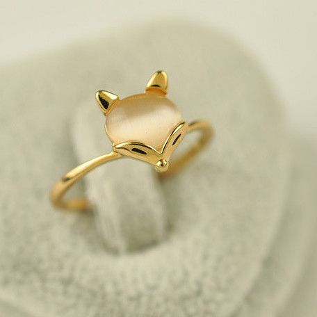 Exquisite Alloy 18K Gold Opal Fox Women's Rings