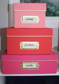 Pretty boxes for storage.  How to paint photo boxes and make pretty storage on the cheap :-)