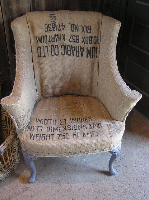 Burlap chair. How to make something timeless and beautiful into a piece of crap no one wants to sit on.