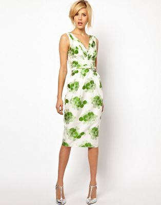 ASOS Pencil Dress in Floral Jacquard
