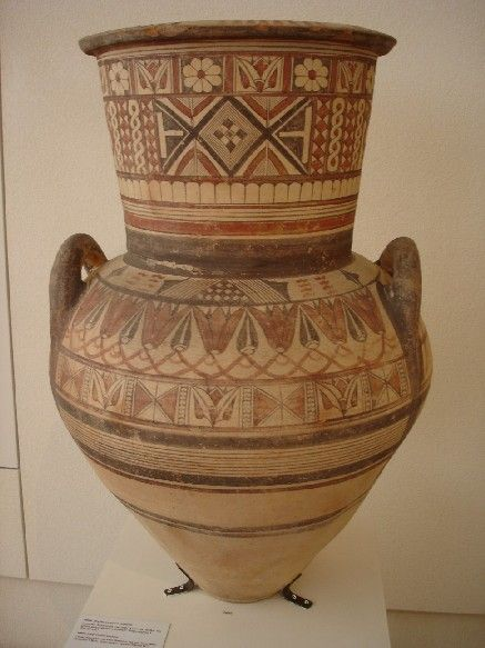 Large cypriot amphora linear decoration and lotus flowers for Ancient greek pottery decoration