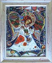 $200 Ukrainian Christmas Star Glass Painting