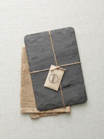 Black Slate Cheese Board  http://www.gilttaste.com/products/85224643-brooklyn-slate-black-slate-cheese-board-x