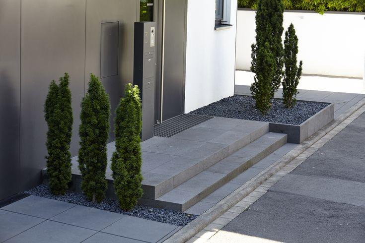 Eingangsbereich aus Betonstufen und Bodenbelägen von Metten. Tuja Bepflanzung. Gestaltet von Rheingrün
