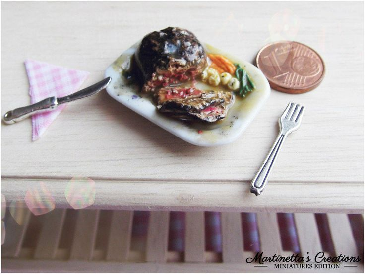 Miniatura Roast beef in scala 1:12 in fimo, by Martinetta's Creations -Miniatures Edition-, 11,00 € su #misshobby.com