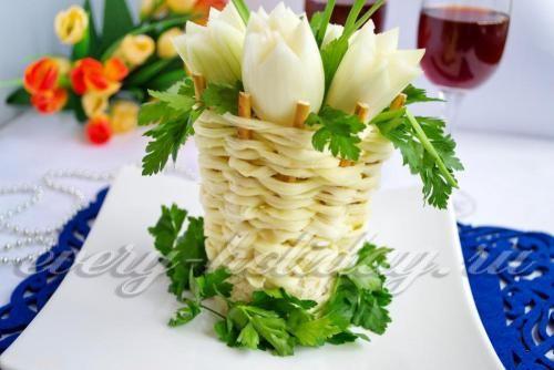 Салат «Корзинка с весенними цветами»