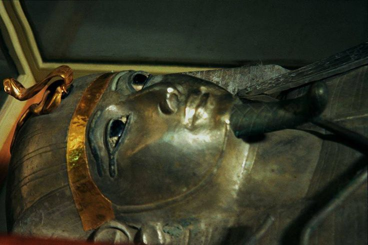 """Silver Antropoid coffin of Psusennes I, Egyptian Museum  In 1940, French archaeologist Pierre Montet discovered a pharaoh with a coffin made of pure silver. Psusennes has been dubbed """"the silver pharaoh."""" According to the ancient Egyptians, gold was the flesh of the gods, and silver, their bones.  However, silver needed to be imported from Western Asia, which made it the most precious metal in ancient Egypt. Psusennes's coffin reflects staggering wealth and casts aside assumptions about the…"""