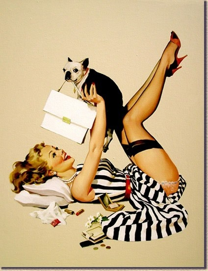 "My favorite pin up of all time!  ""Lucky Dog"" by Gil Elvgren. by exflygirl007"