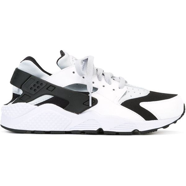 Nike Air Huarache sneakers ($129) ❤ liked on Polyvore featuring men's fashion, men's shoes, men's sneakers, white, mens lace up shoes, black and white mens shoes, nike mens sneakers and nike mens shoes