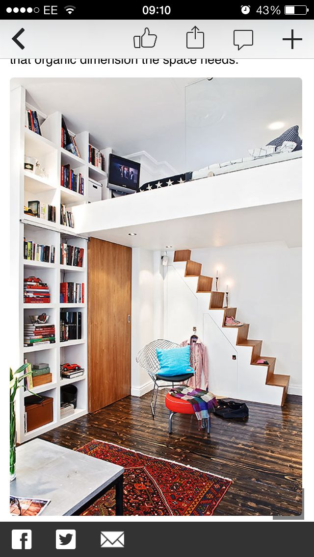 Mezzanine bedroom floor. Storage under stairs. Stair placement idea (though conventional layout allows greater storage)
