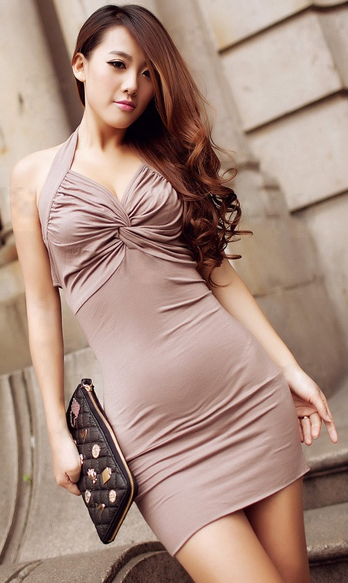 V-neck low-waist backless Halter Dress