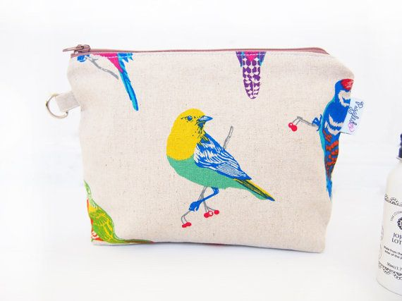 Makeup Pouch / Toiletry Bag with a Flat Bottom with by piggledee