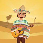 Мексиканский человек с сомбреро и гитара — стоковое изображение #139982684