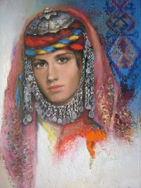 Remzi Iren -.Turkish Painter Anatolia headband..Türkmen başlığı