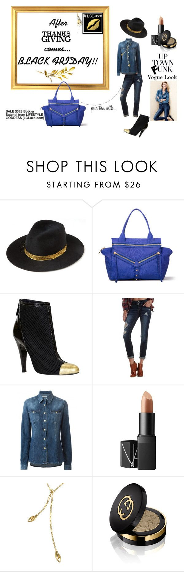 """Black Friday Sale at Lifestyle Goddess"" by lifestylegoddess ❤ liked on Polyvore featuring Eugenia Kim, Botkier, Chanel, Charlotte Russe, H&M, NARS Cosmetics, Realm and Gucci"