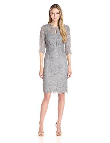 Alex Evenings Women's Short Lace Jacket Dress Our short, 2 piece, all over stretch lace jacket dress features a removable bolero jacket. The shift dress under the jacket is sleeves less, with a scoop neck and scallop hem and the jacket closes at the neckline with a hidden hook and eye closure. This is the perfect dress for a mother of the bride, guest of wedding or for any special evening event.Lace bolero jacket dress2 piece dressHook and eye closure at neck of jacketCenter