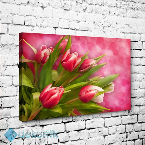 Floral Pink Tulips Tablo #çiçekli_kanvas_tablo