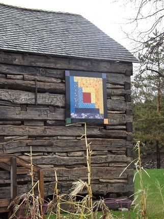 ~ Log Cabin Block on a Log Cabin - Barn Quilts and the American Quilt Trail ...