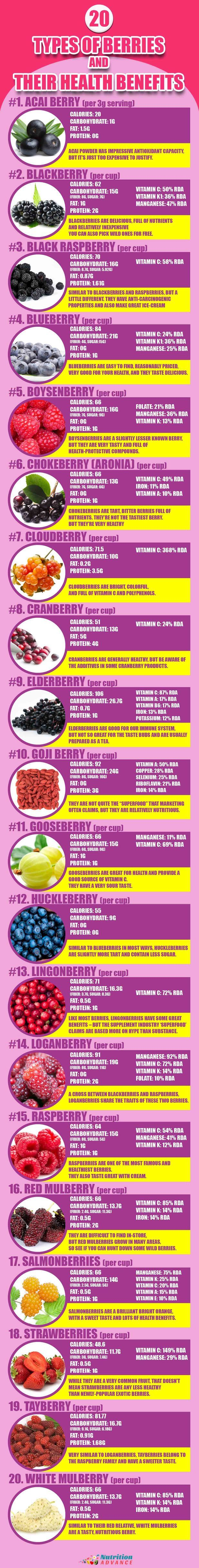 20 Different Types of Berries and Their Nutritional Information - some of these are popular berries and some are lesser known - which one do you like the best?