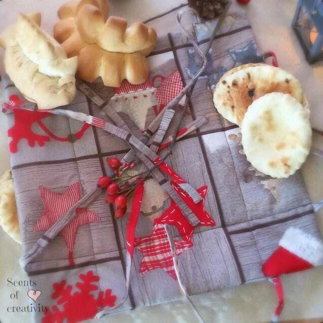 Cestino porta pane natalizio, in tessuto