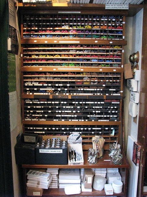 My photo of the coloured pencils in L. Cornelissen & Son, London (from my Flickr set My Favourite Art Shop)