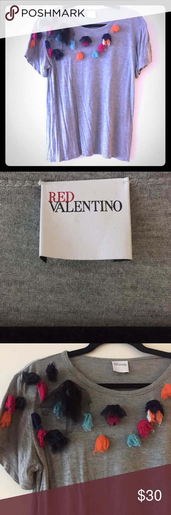 Red Valentino Shirt Red Valentino t-shirt with classic Valentino embellishments made of tulle. Hand washed and ready for you to wear! Re-posh I never got around to wearing. Small but not tight so could for a medium too. RED Valentino Tops Tees - Short Sleeve