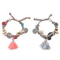 2017 Nova Jóias Europeia weave pulseiras boho shell charm bracelet com moeda silk tassel charme Strand Pulseiras para as mulheres