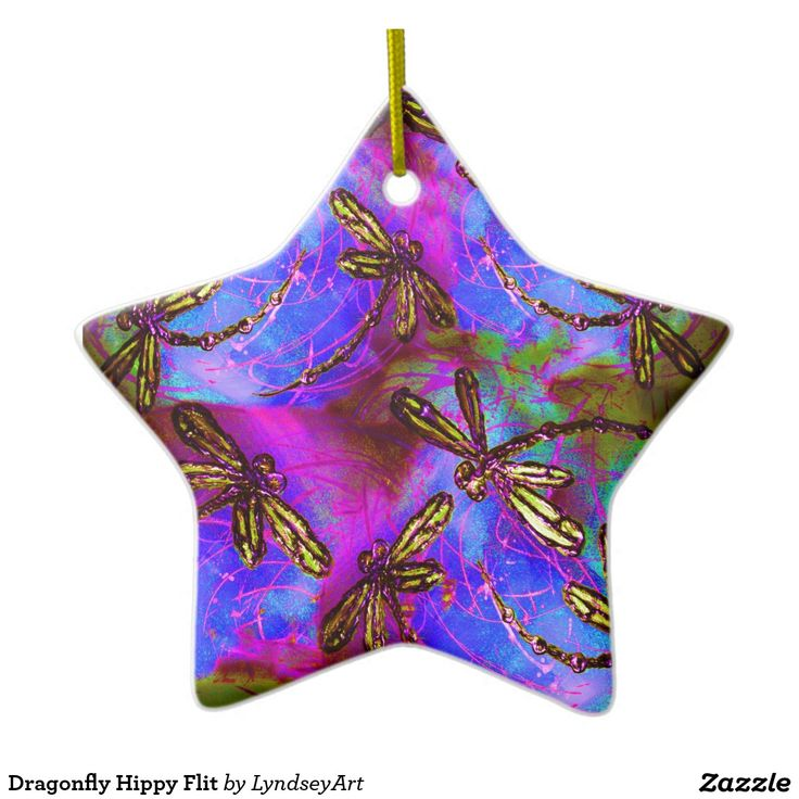 Dragonfly Hippy Flit Christmas Decoration! Gorgeous yellow winged dragonflies flit on a psychedelic background. From my original artwork. LyndseyArt