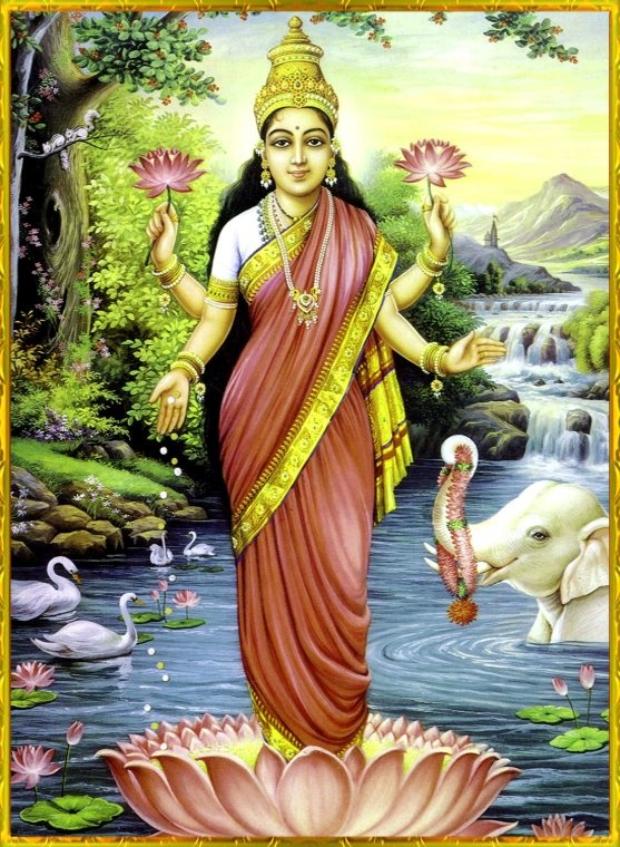 Mahalakshmi, love it when they are standing in a lotus