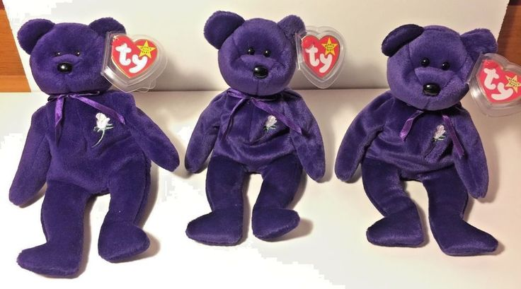 1st EDITION PRINCESS DIANA BEANIE BABY BEAR Lot 100 *VERY HOT*Three VERY RARE #Handmade