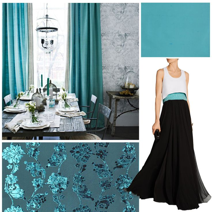 A stunning gown suitable for fine dining in a beautiful room.