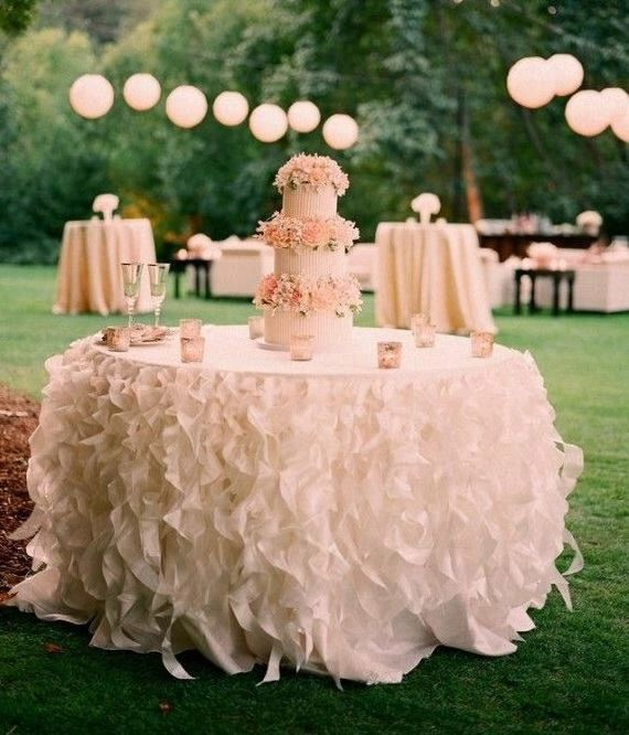 White Ruffle Tablecloth, Romantic Ruffle Table Skirt, curly willow tablecloth, ruffled tablecloth, wedding tablecloth, different colors by CandyCrushEvents on Etsy https://www.etsy.com/listing/496782533/white-ruffle-tablecloth-romantic-ruffle
