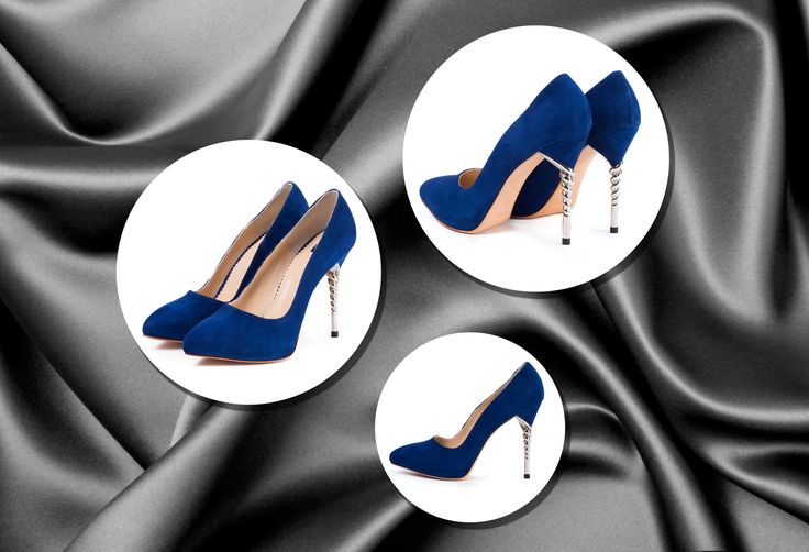 The Zoe leather shoes with imperial blue camoso leather and spiral heels from…