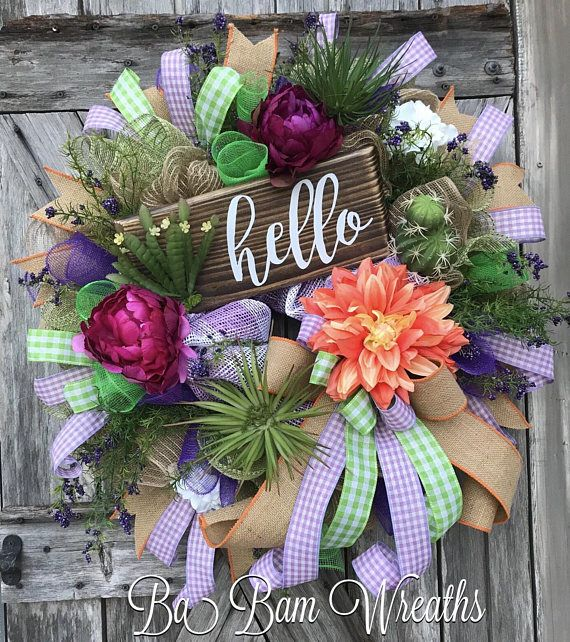 Succulent Wreath, Succulent Decor, Everyday Wreath, Spring Wreath, Spring Decor, Shabby Chic Wreath, Rustic Wreath, Cactus Wreath, Cactus Decor HELLO Succulents & mini cactus spread amongst the greenery surrounds a rustic wooden sign. Green, peach, deep violet and blush pink are