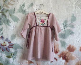 Mädchen Kleid  Boho rosa Kleid  Blumenmädchen Kleid