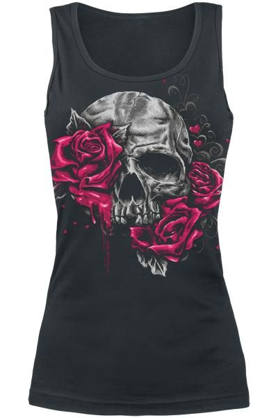 Skull and Roses vest top ~ EMP Full Volume