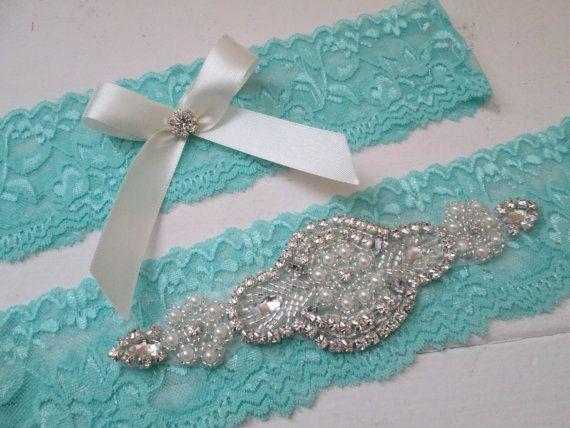 Aqua Teal Blue Wedding Garter Set Something by GibsonGirlGarters