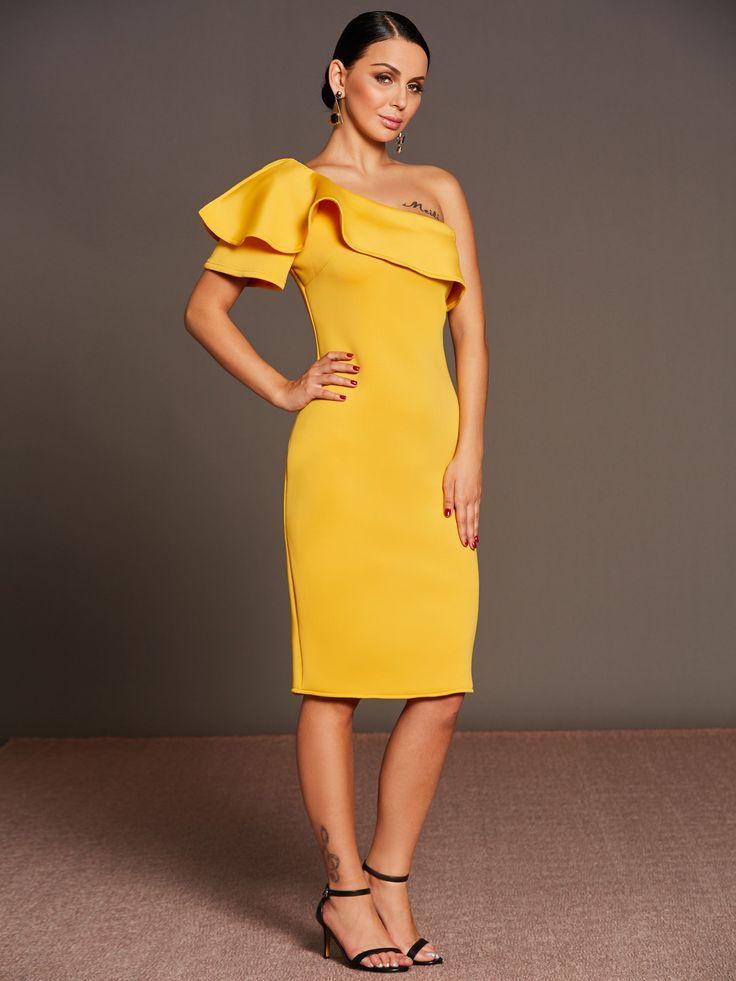 Pop color fashion for u>One Shoulder Falbala Women's Bodycon Dress #bodycondresscasual