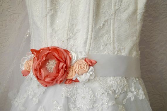 Bridal flower sash wedding sash bridal gown sash by MkeFlower