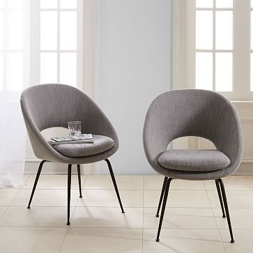 orb dining chair individual yarn dyed linen weave pumice
